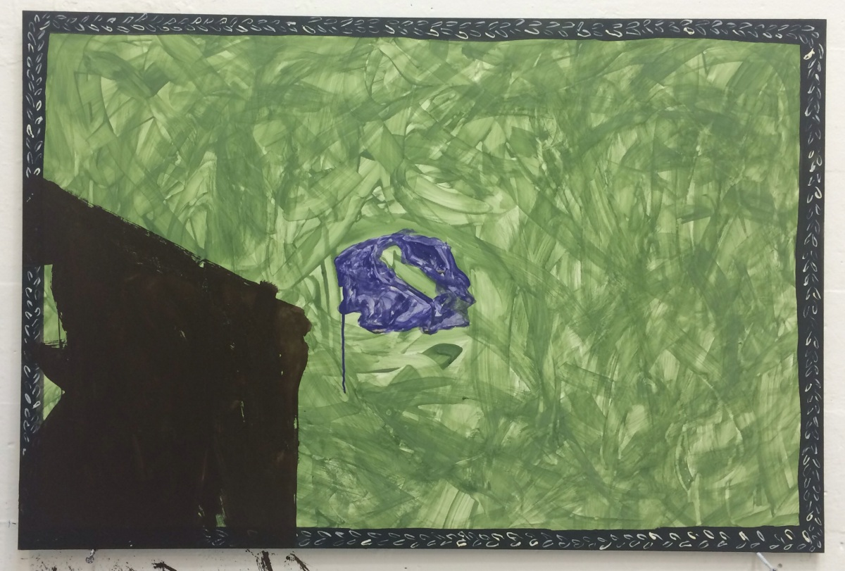 tempera, Han purple, projected PowerPoint of Integrity